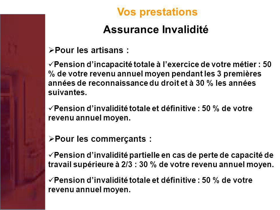 Vos prestations Assurance Invalidité Pour les artisans :