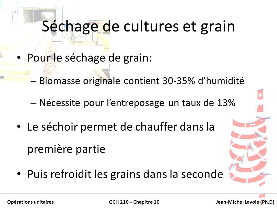 Séchage de cultures et grain