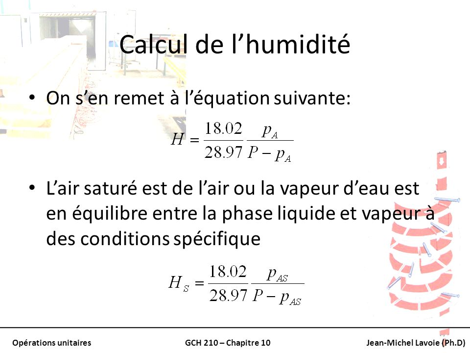 Calcul de l'humidité On s'en remet à l'équation suivante: