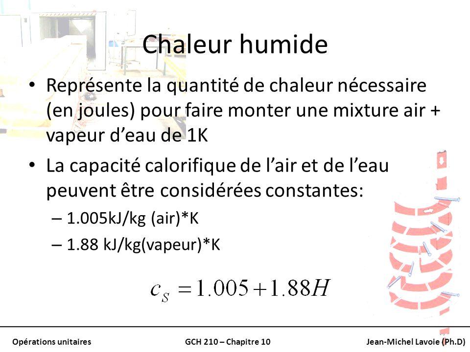 Chaleur humide Représente la quantité de chaleur nécessaire (en joules) pour faire monter une mixture air + vapeur d'eau de 1K.