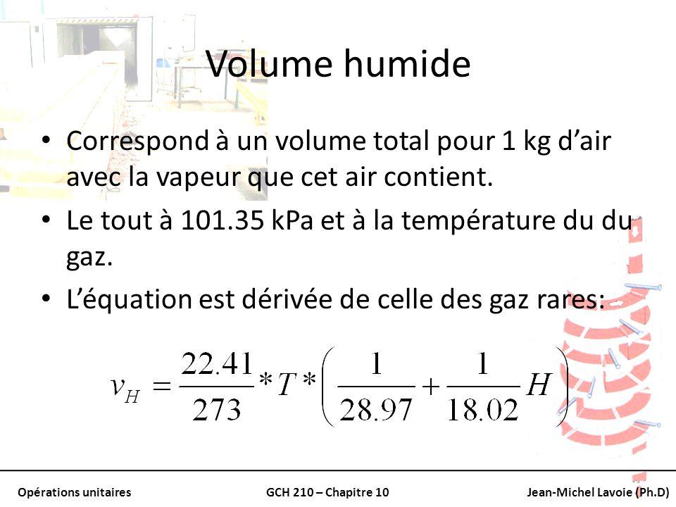 Volume humide Correspond à un volume total pour 1 kg d'air avec la vapeur que cet air contient. Le tout à 101.35 kPa et à la température du du gaz.