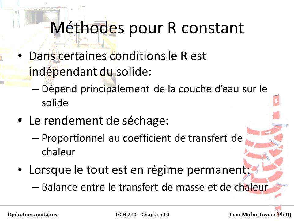 Méthodes pour R constant