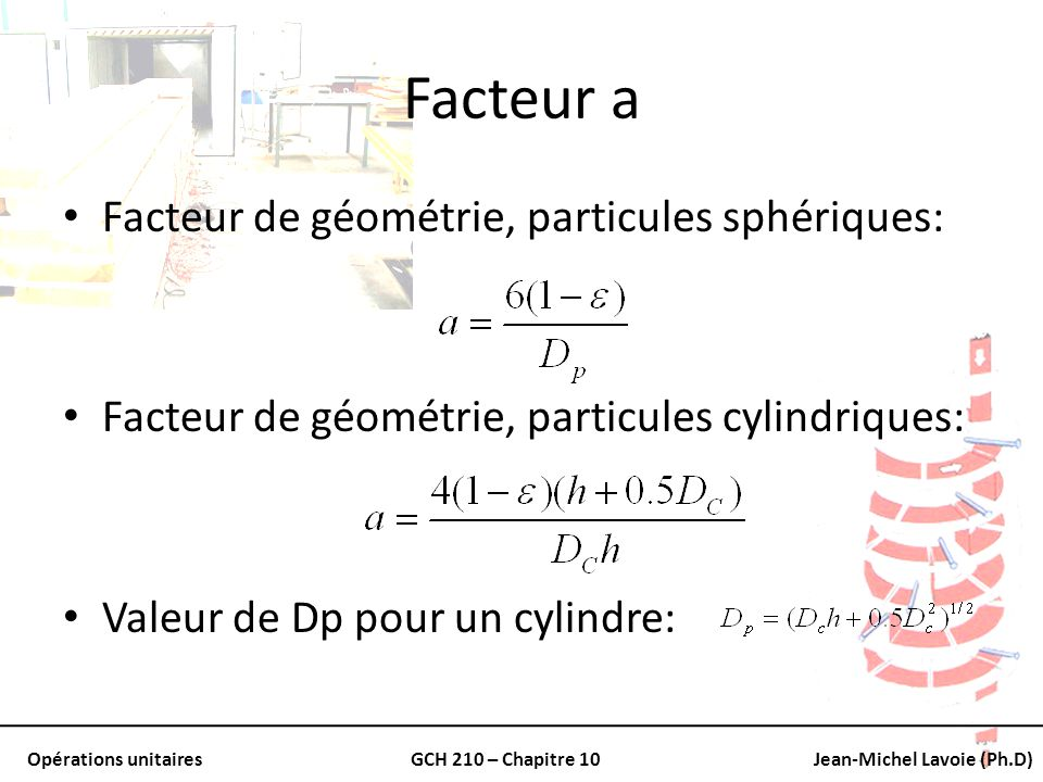 Facteur a Facteur de géométrie, particules sphériques: