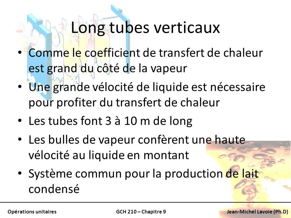 Long tubes verticaux Comme le coefficient de transfert de chaleur est grand du côté de la vapeur.