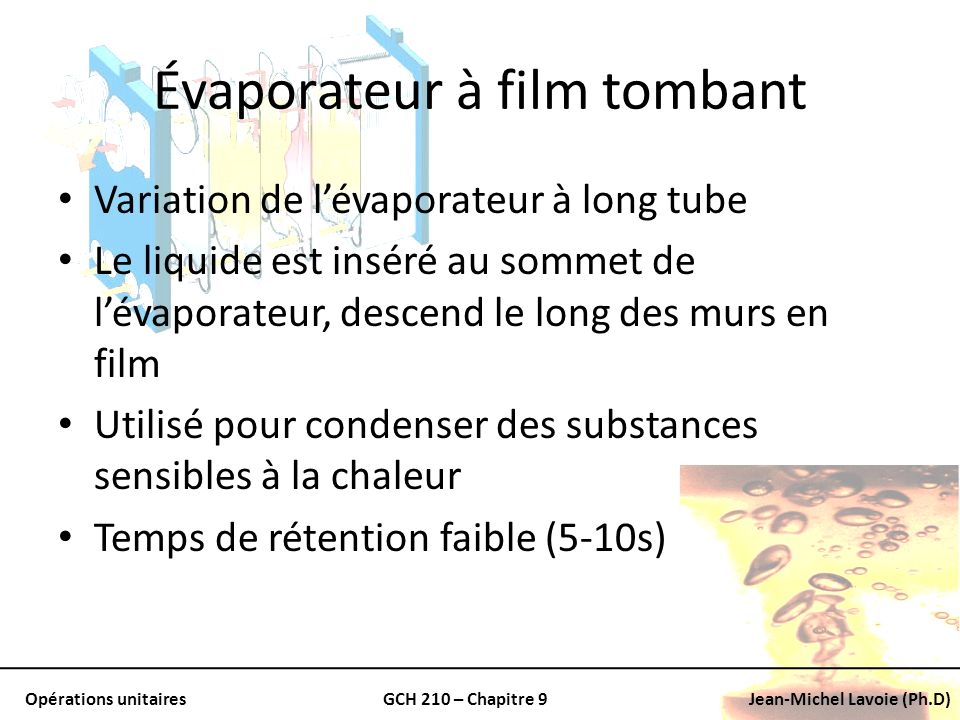 Évaporateur à film tombant