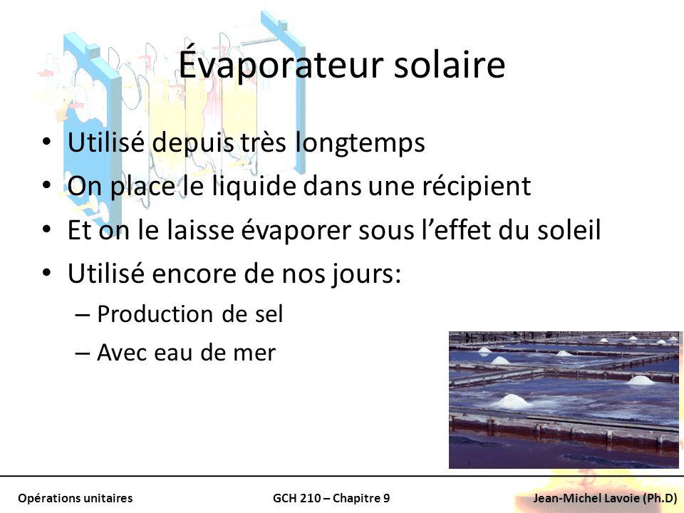 Évaporateur solaire Utilisé depuis très longtemps
