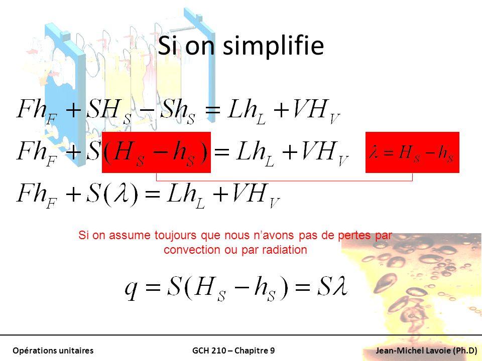 Si on simplifie Si on assume toujours que nous n'avons pas de pertes par convection ou par radiation.