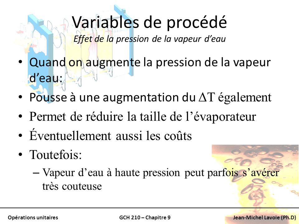 Variables de procédé Effet de la pression de la vapeur d'eau
