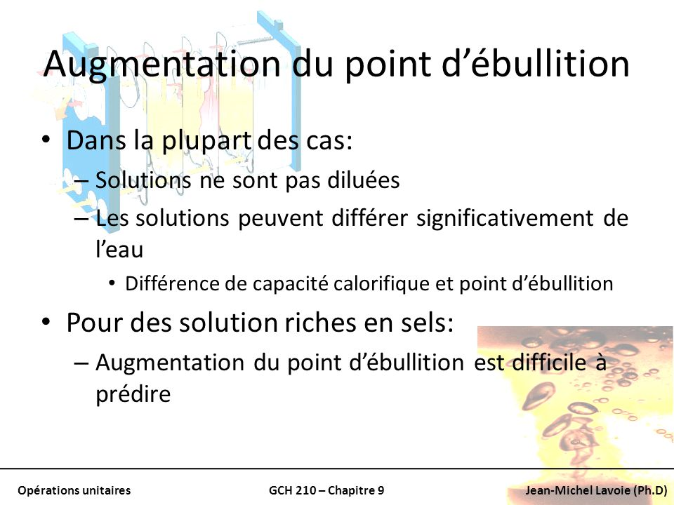 Augmentation du point d'ébullition