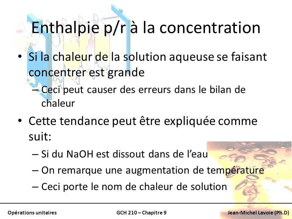 Enthalpie p/r à la concentration