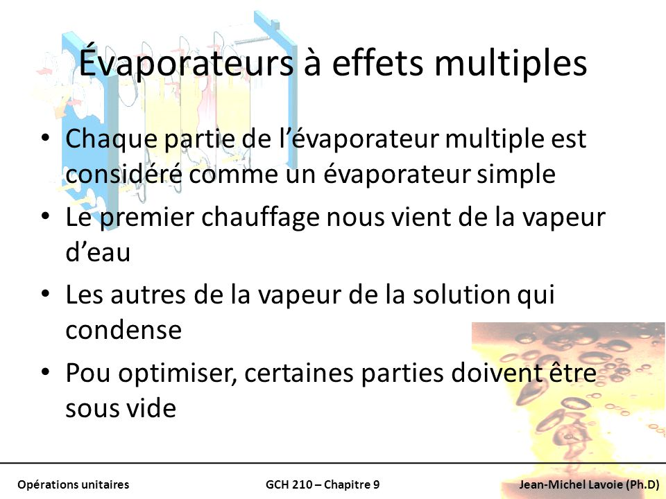 Évaporateurs à effets multiples