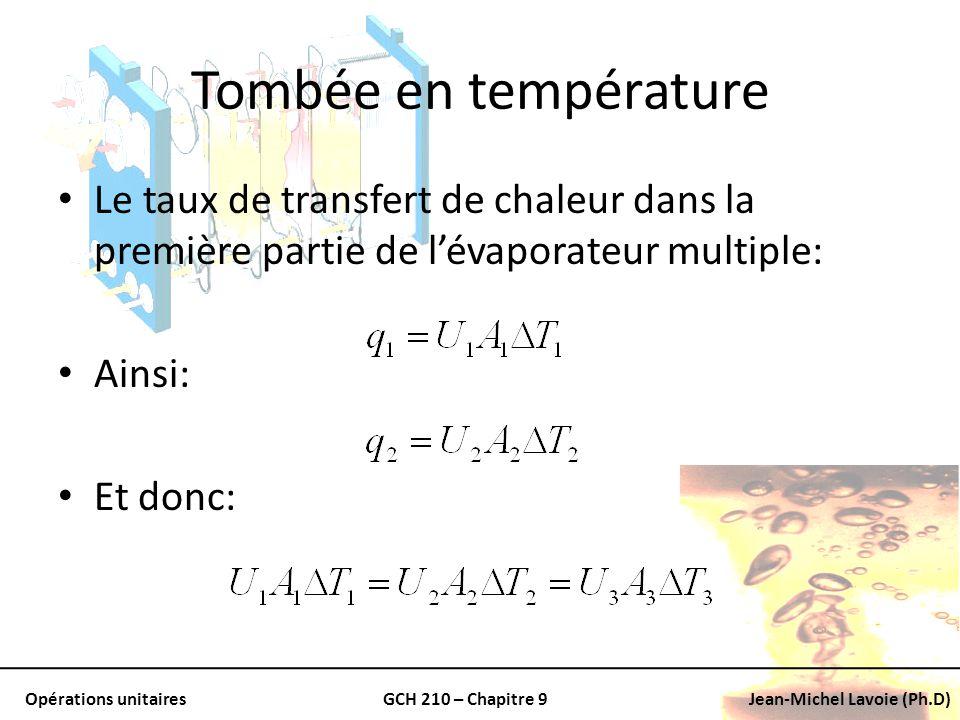 Tombée en température Le taux de transfert de chaleur dans la première partie de l'évaporateur multiple: