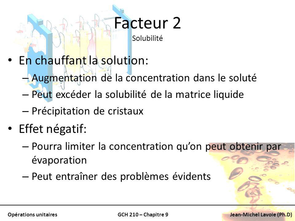 Facteur 2 Solubilité En chauffant la solution: Effet négatif: