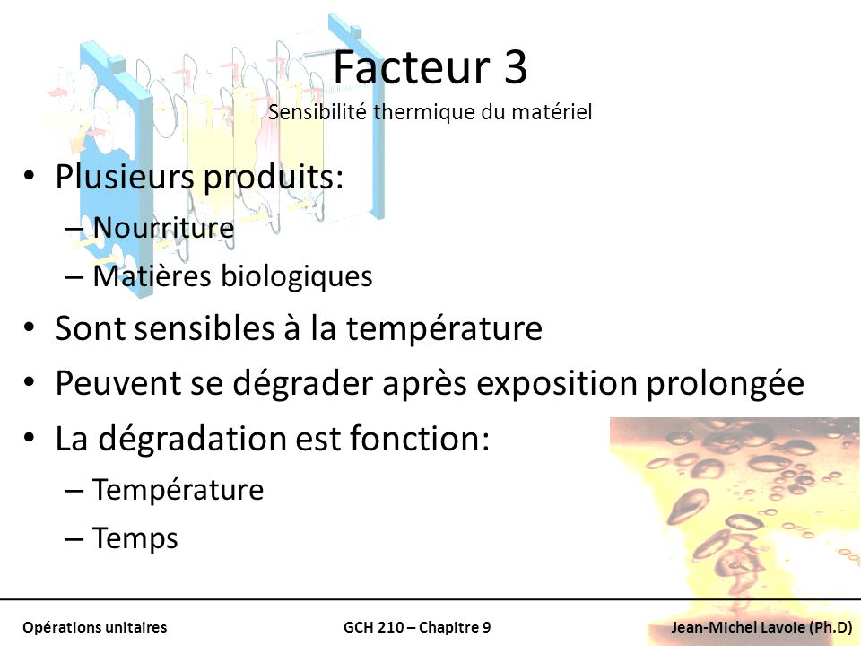 Facteur 3 Sensibilité thermique du matériel