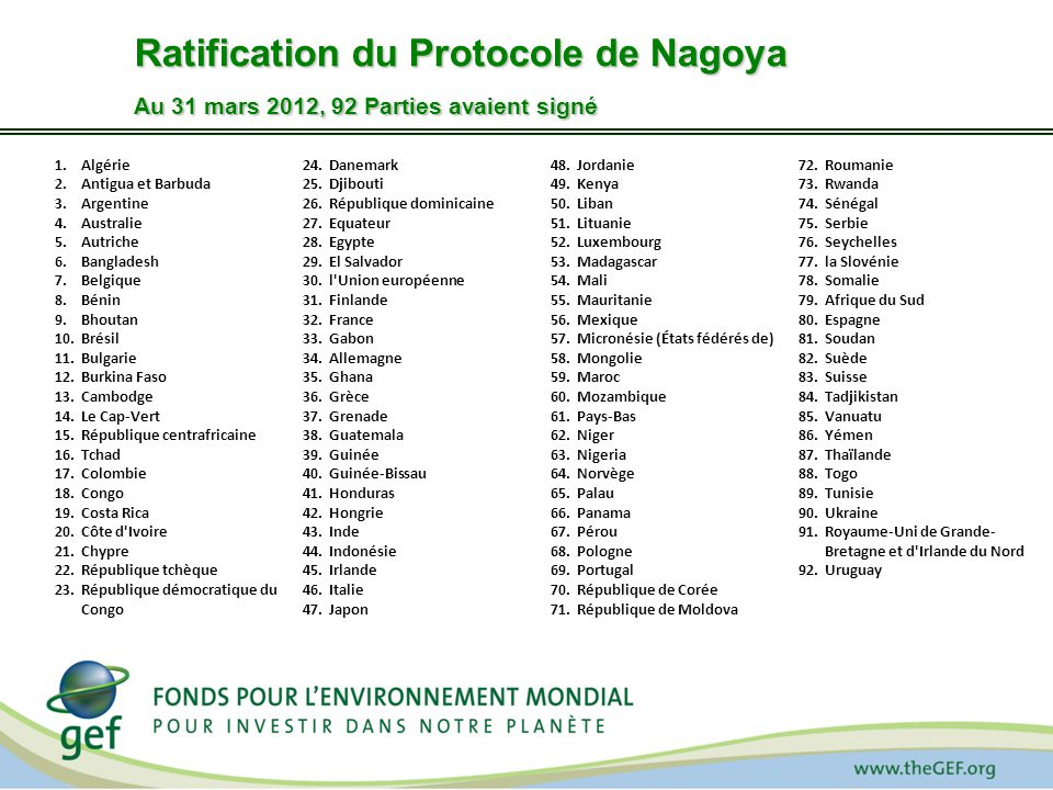 Ratification du Protocole de Nagoya