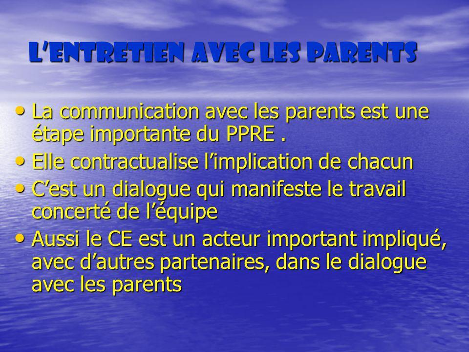 L'entretien avec les parents