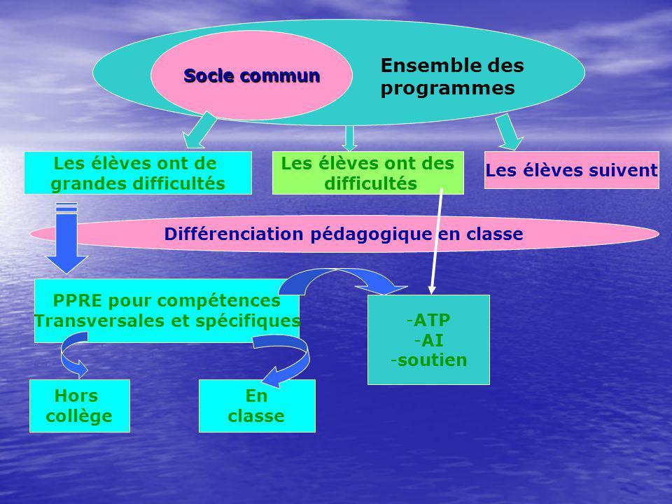 Différenciation pédagogique en classe Transversales et spécifiques