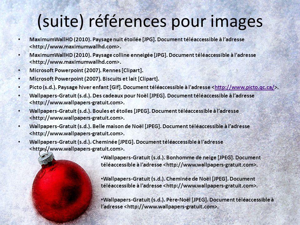 (suite) références pour images