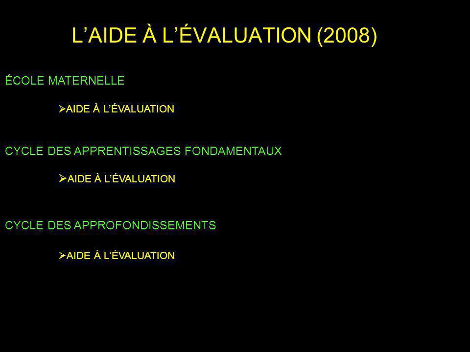 L'AIDE À L'ÉVALUATION (2008)