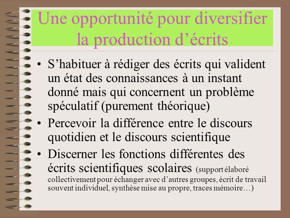 Une opportunité pour diversifier la production d'écrits