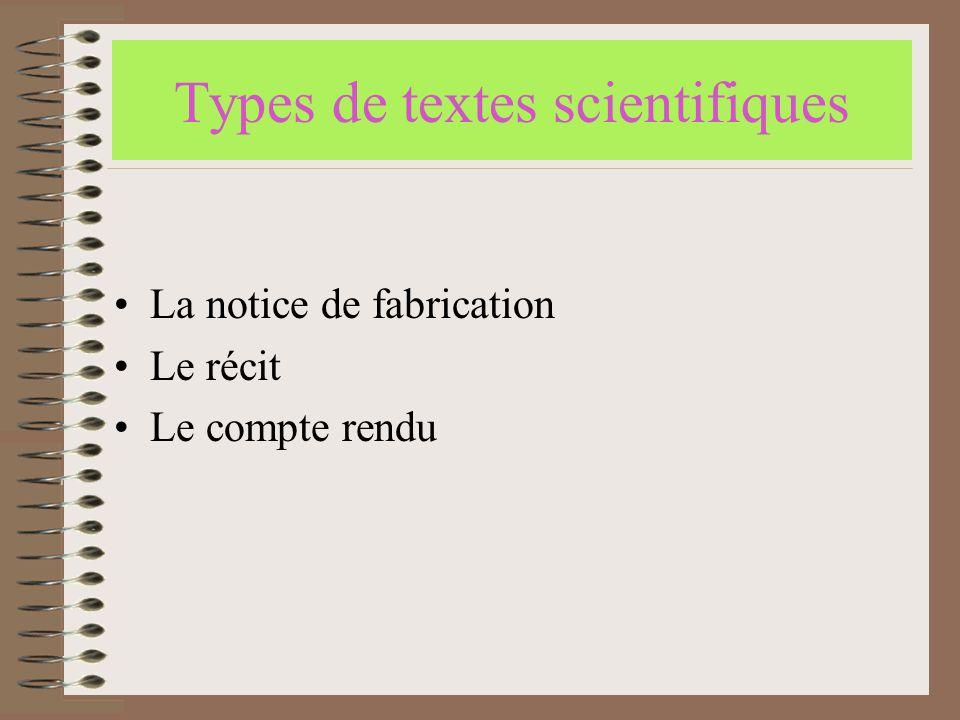 Types de textes scientifiques
