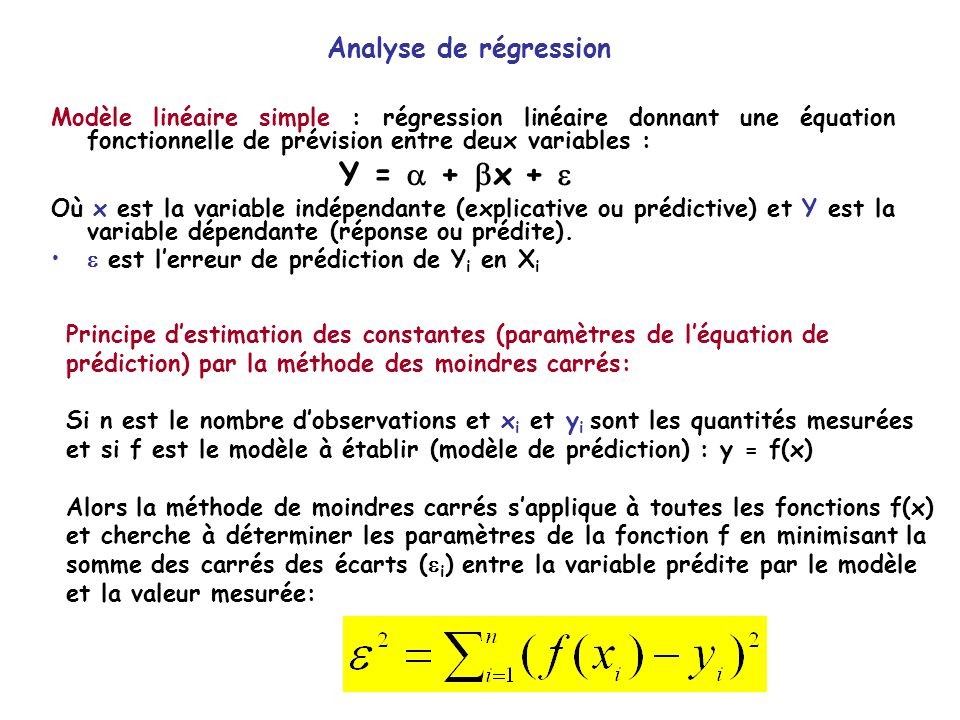 Y =  + x +  Analyse de régression