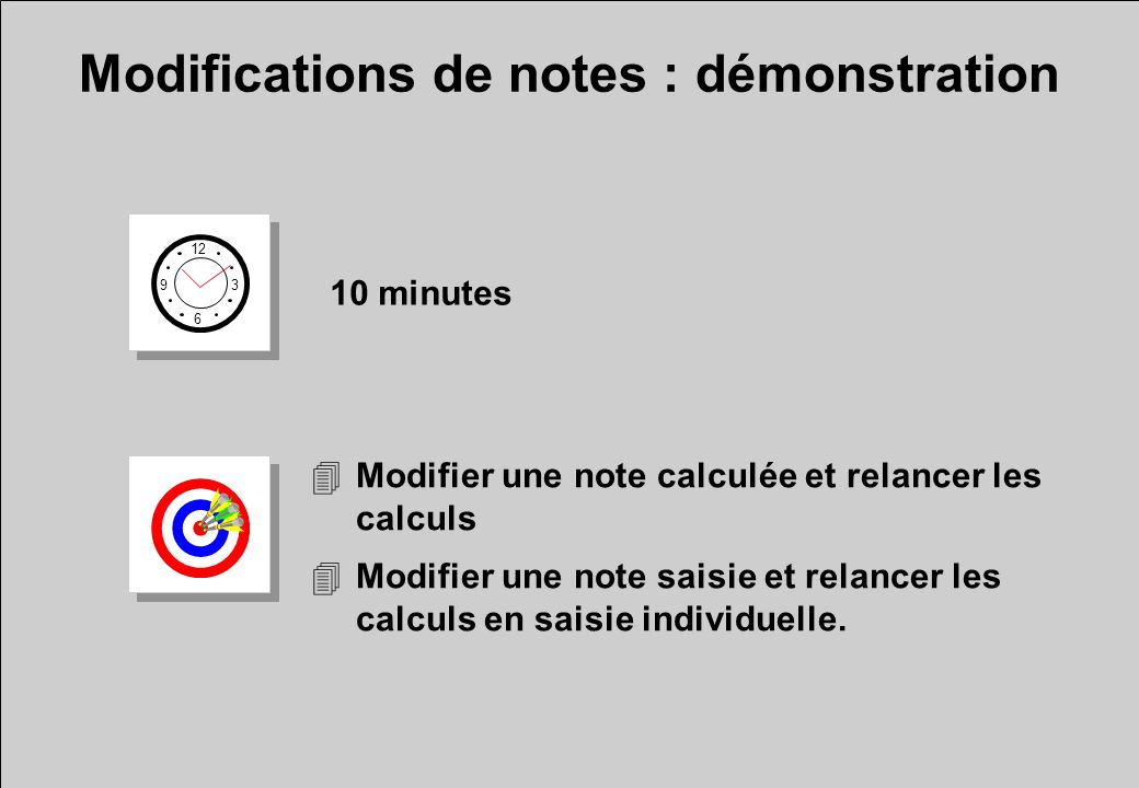 Modifications de notes : démonstration