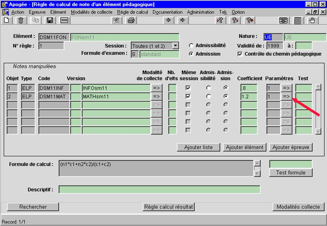écran Règle de calcul de note