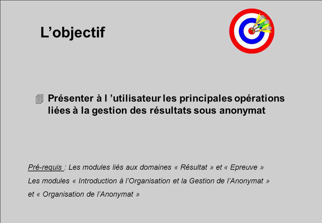 L'objectif Présenter à l 'utilisateur les principales opérations liées à la gestion des résultats sous anonymat.
