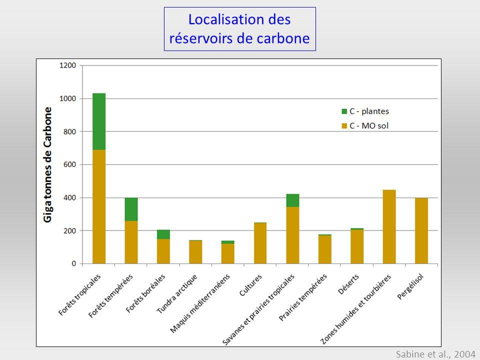 Localisation des réservoirs de carbone Sabine et al., 2004