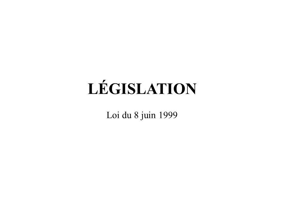 LÉGISLATION Loi du 8 juin 1999