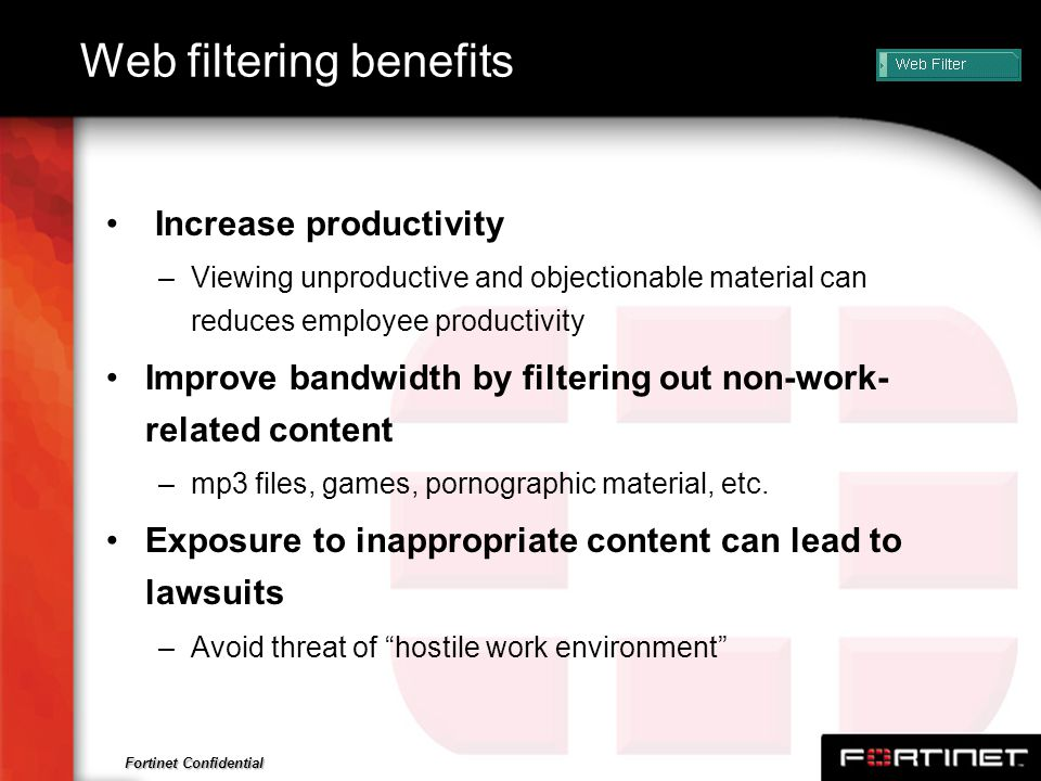 Web filtering benefits