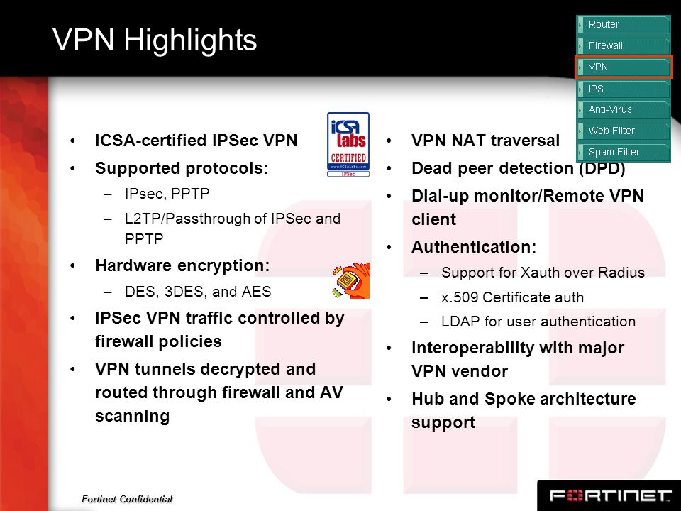 VPN Highlights ICSA-certified IPSec VPN Supported protocols:
