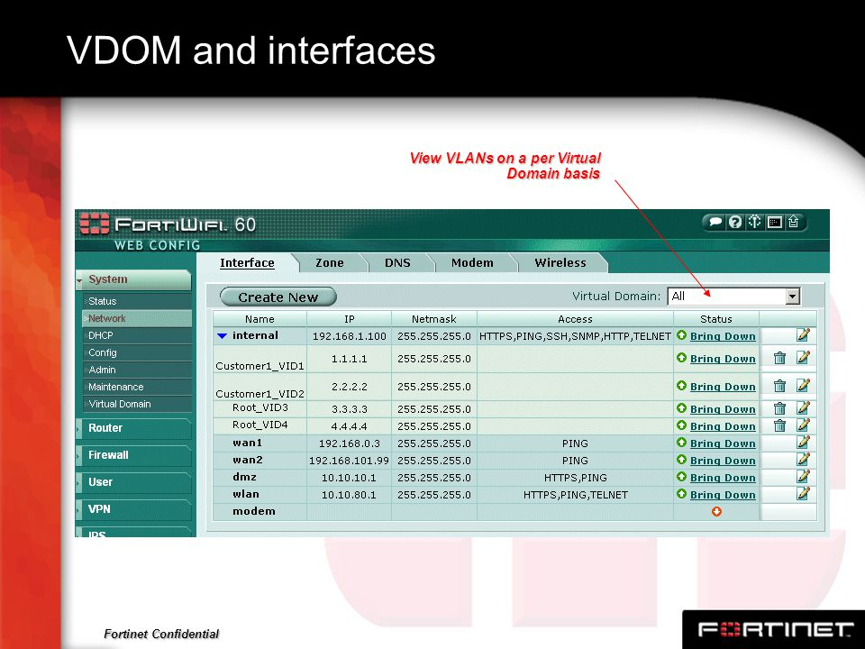 VDOM and interfaces View VLANs on a per Virtual Domain basis