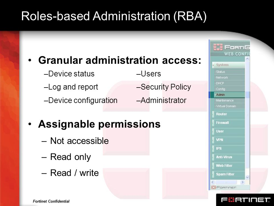 Roles-based Administration (RBA)