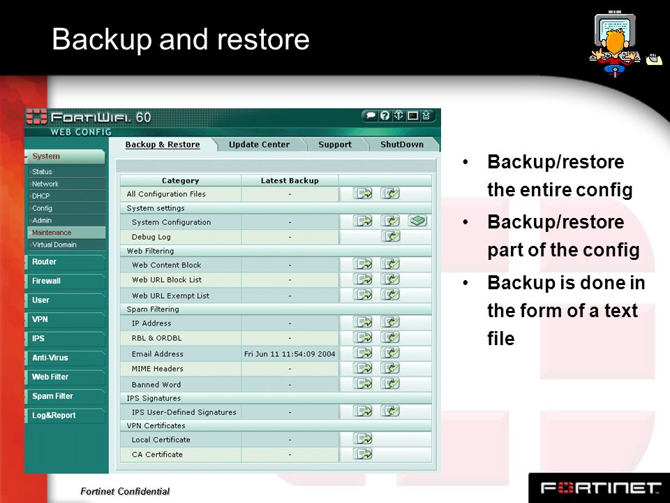 Backup and restore Backup/restore the entire config