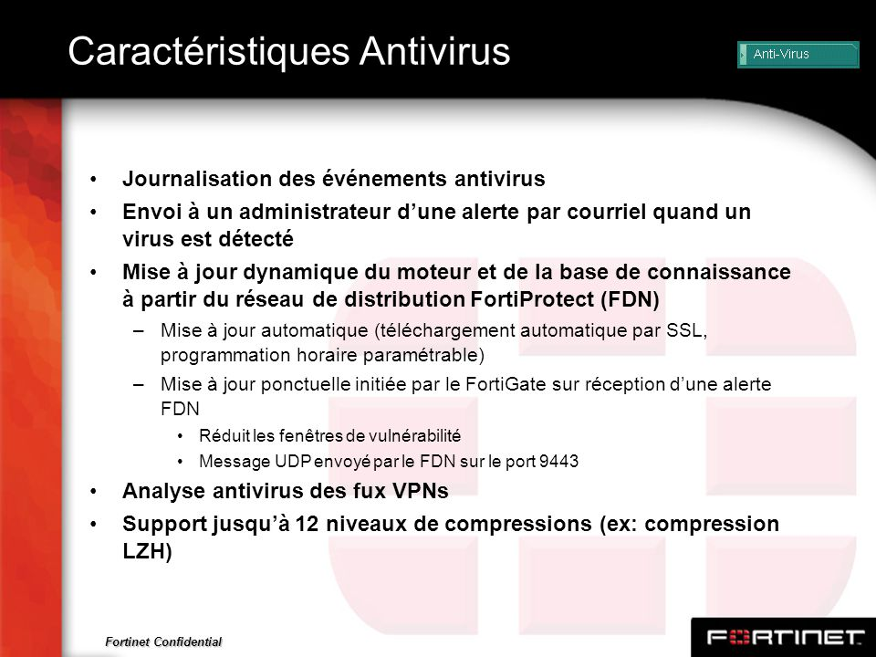 Caractéristiques Antivirus