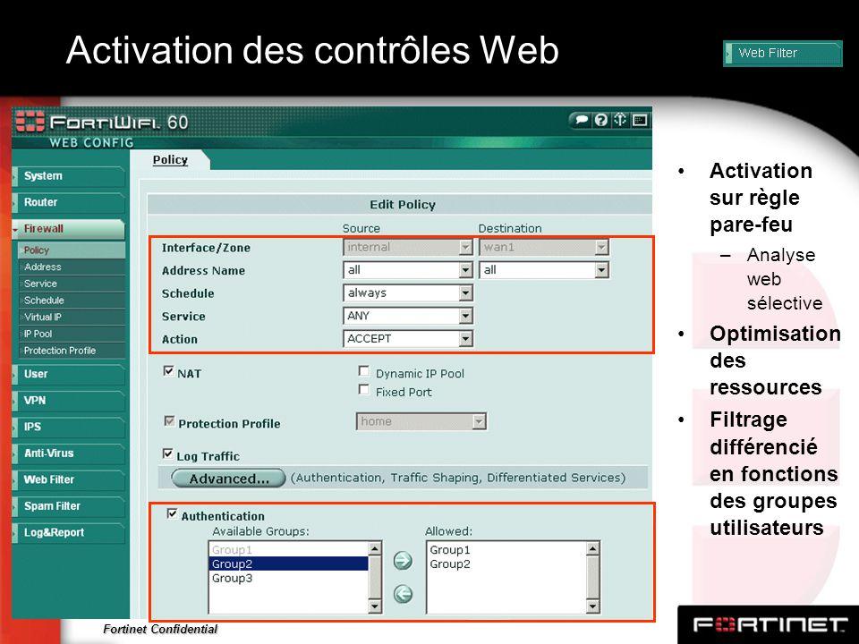 Activation des contrôles Web