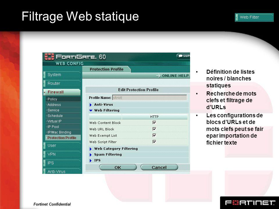 Filtrage Web statique Définition de listes noires / blanches statiques