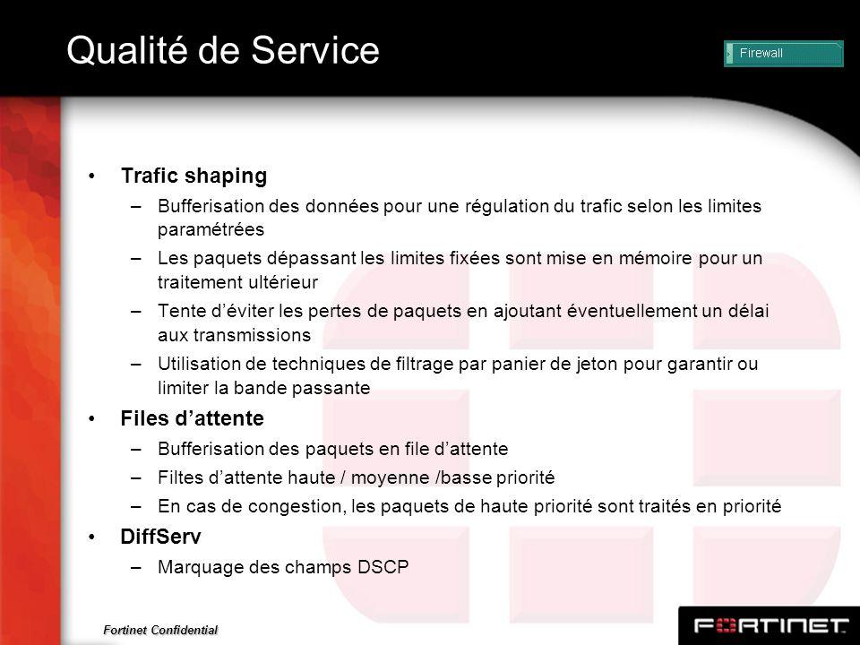 Qualité de Service Trafic shaping Files d'attente DiffServ