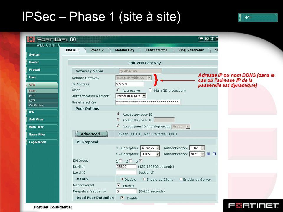 IPSec – Phase 1 (site à site)