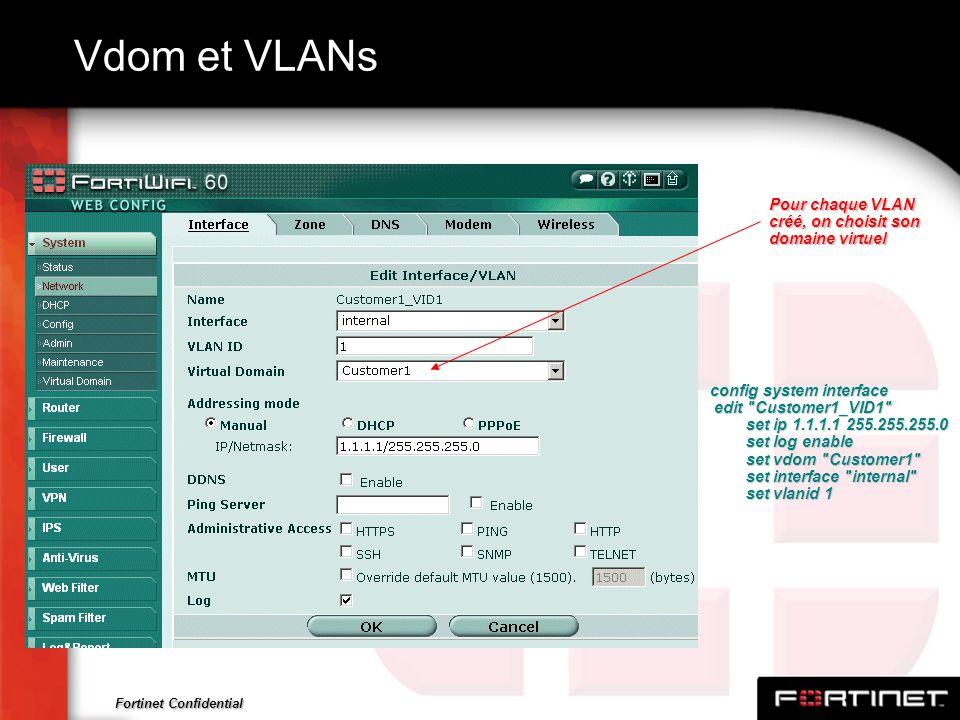 Vdom et VLANs Pour chaque VLAN créé, on choisit son domaine virtuel