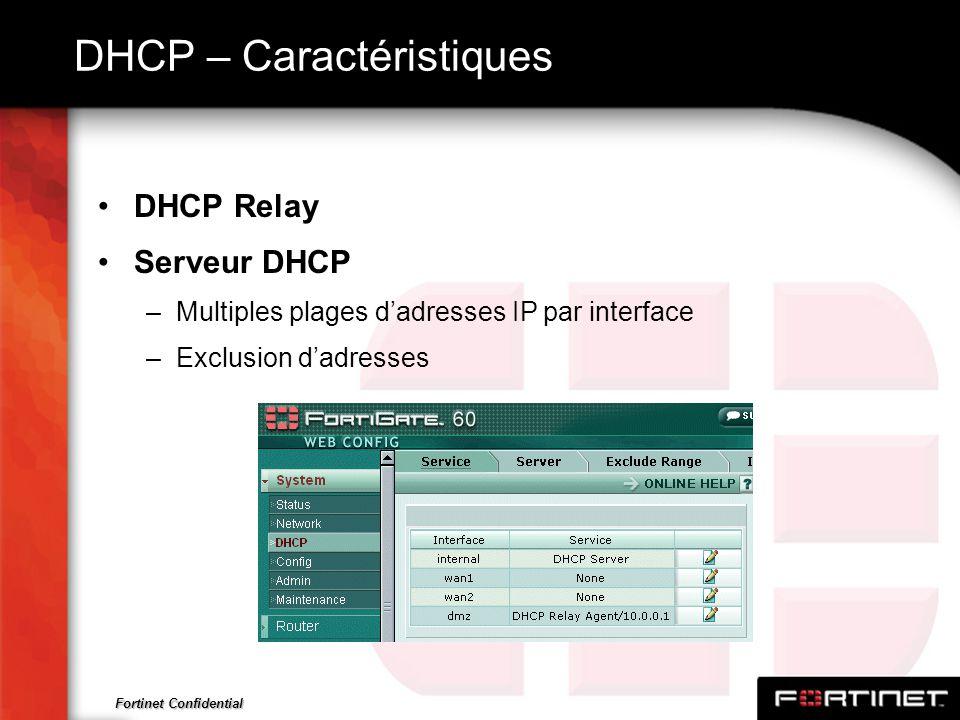 DHCP – Caractéristiques