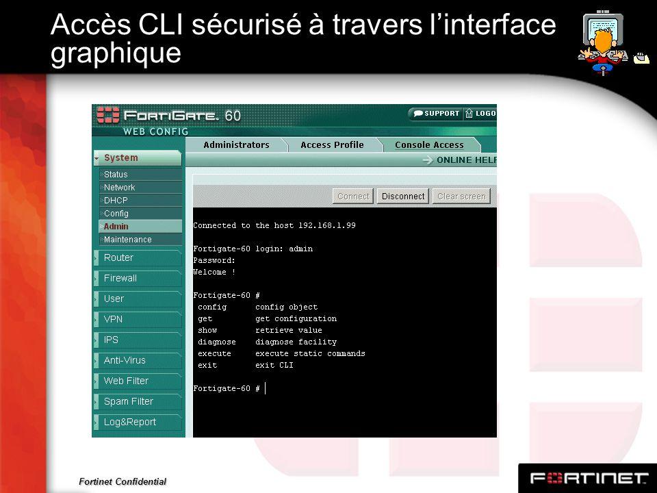 Accès CLI sécurisé à travers l'interface graphique