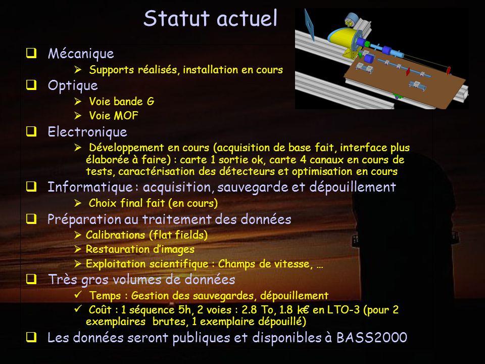 Statut actuel Mécanique Optique Electronique