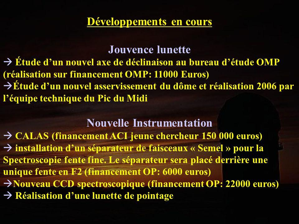 Développements en cours Nouvelle Instrumentation