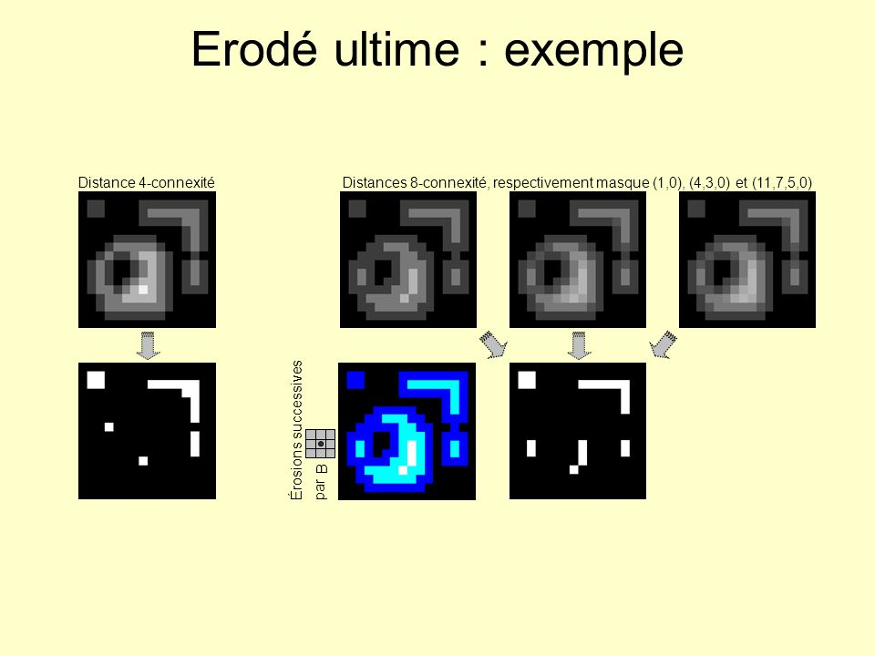 Erodé ultime : exemple Distance 4-connexité