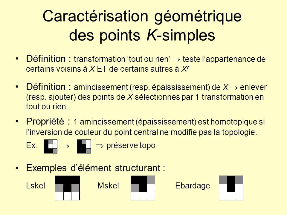 Caractérisation géométrique des points K-simples