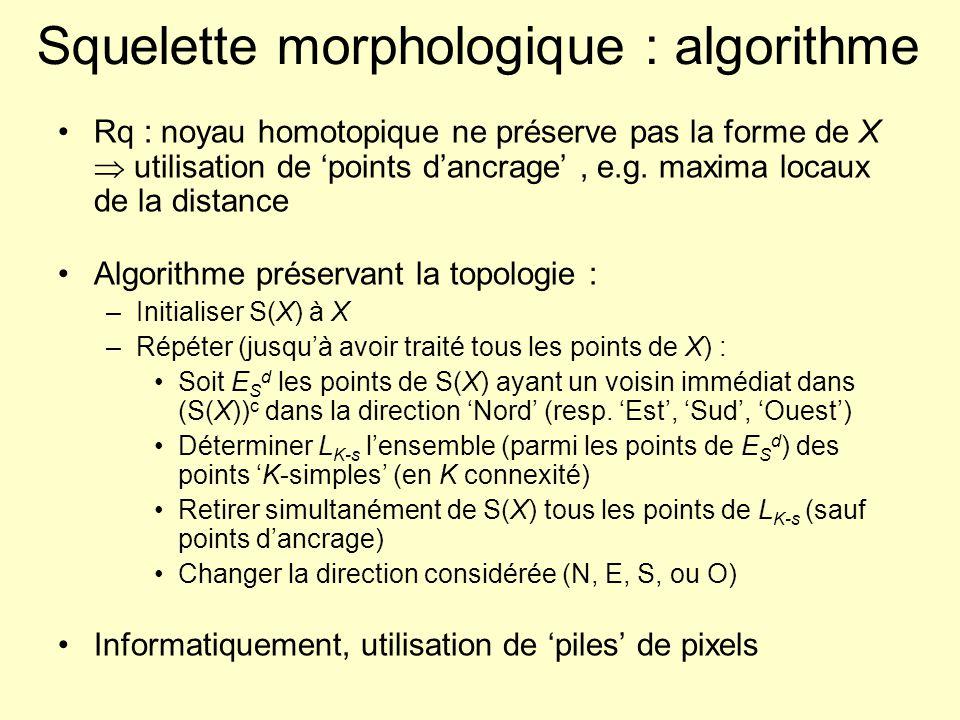 Squelette morphologique : algorithme