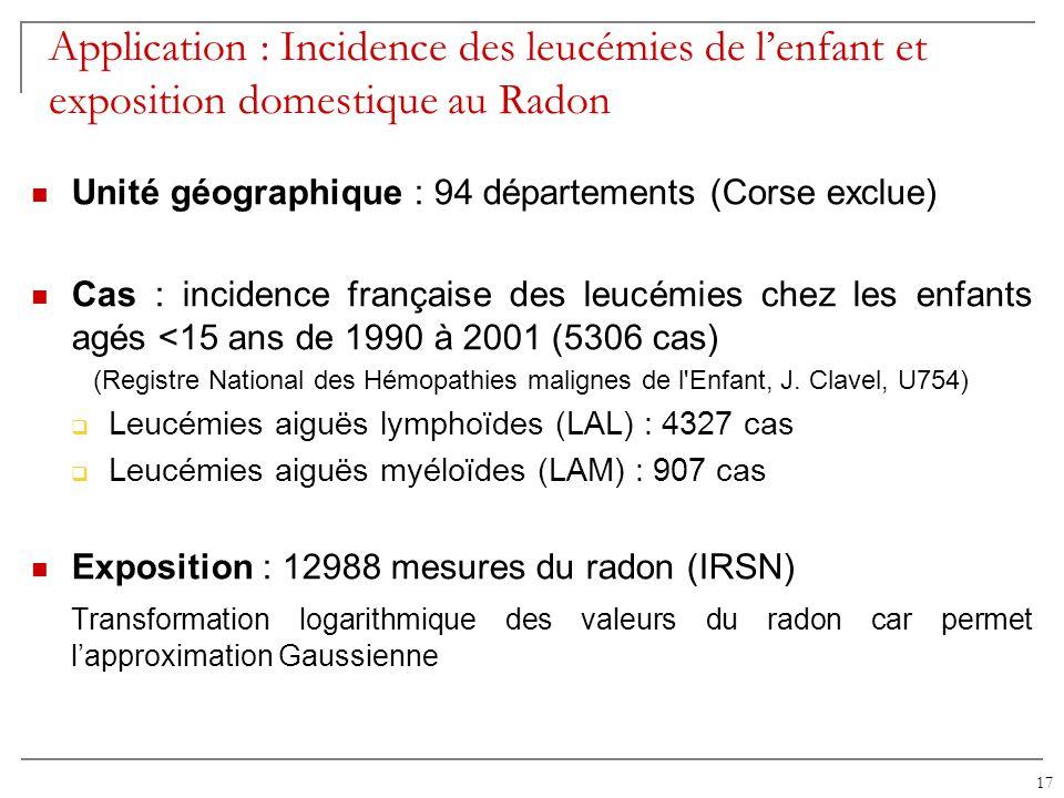Application : Incidence des leucémies de l'enfant et exposition domestique au Radon